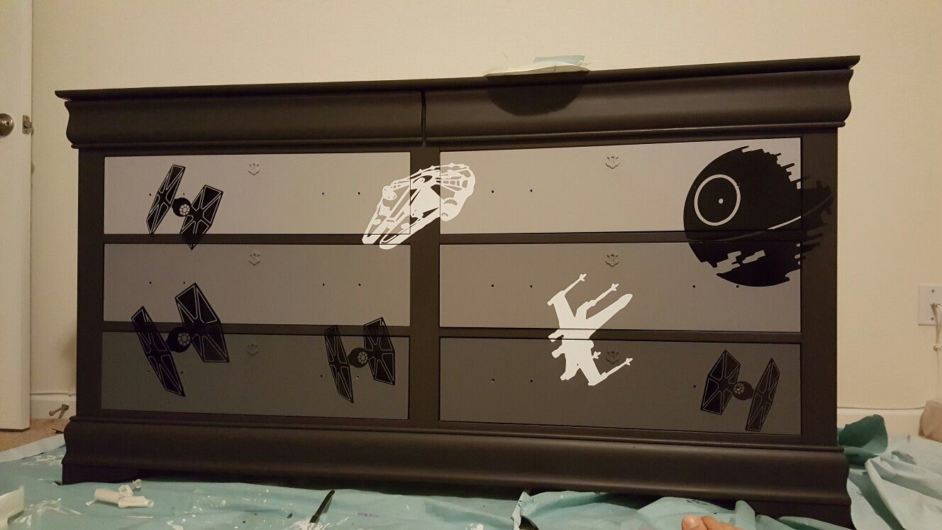 Room Ideas · Star Wars Space Battle Themed Dresser Upcycle.