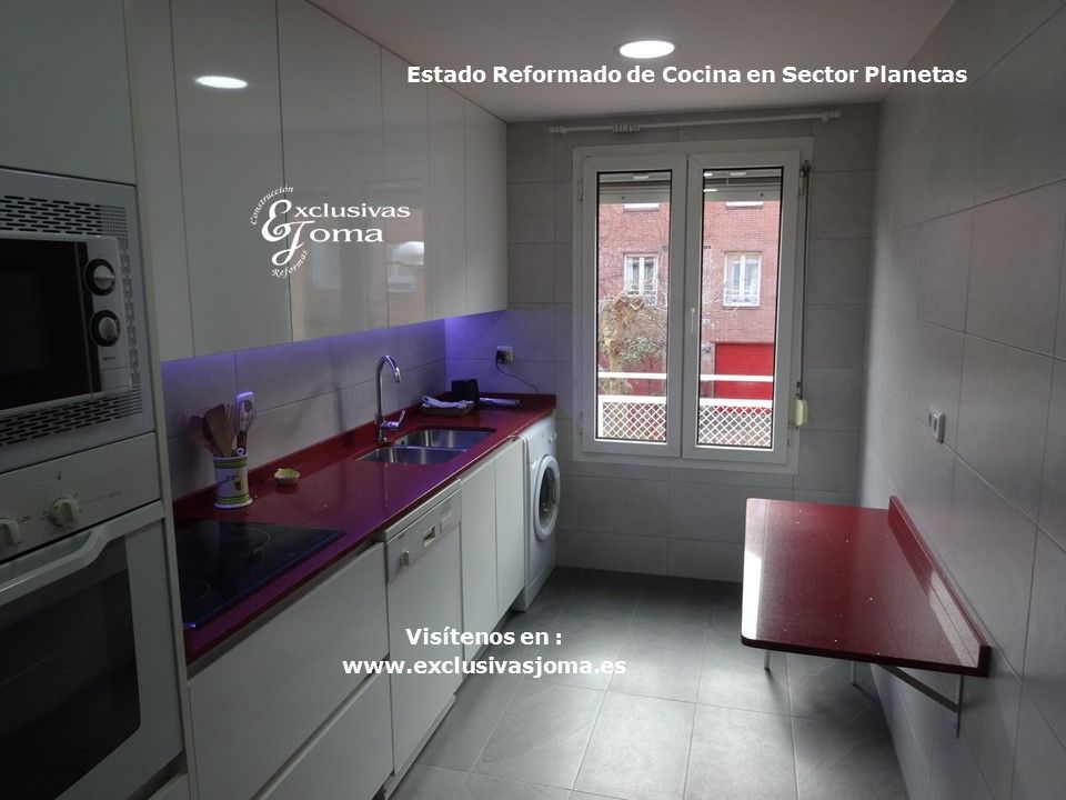 Reforma de cocina integral en chalets de sector planetas for Encimeras imitacion a silestone