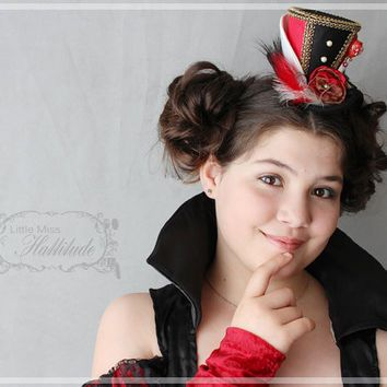 Red Queen Of Hearts Mini Top Hat Tea Party Hat Mad Hatter Hat
