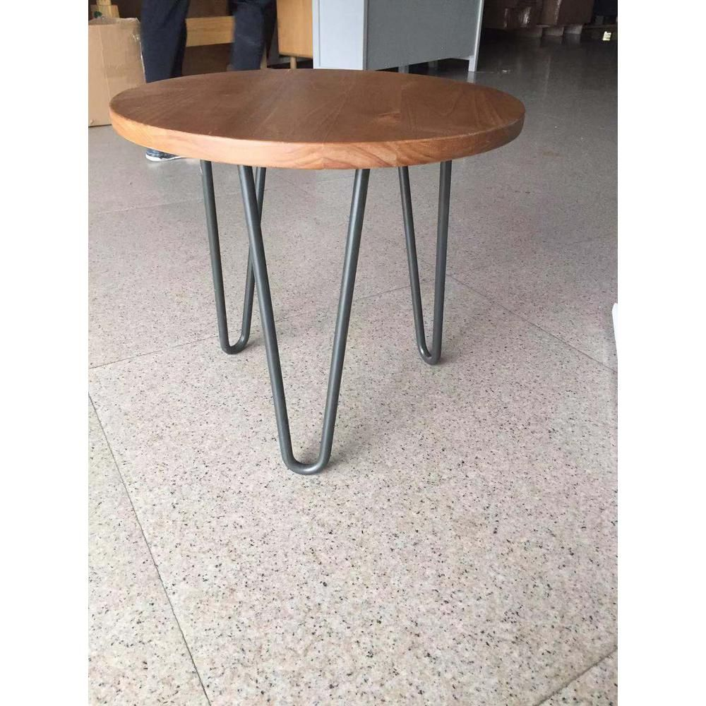 Table H Et H stylewell banyan round honey wood end table with hairpin