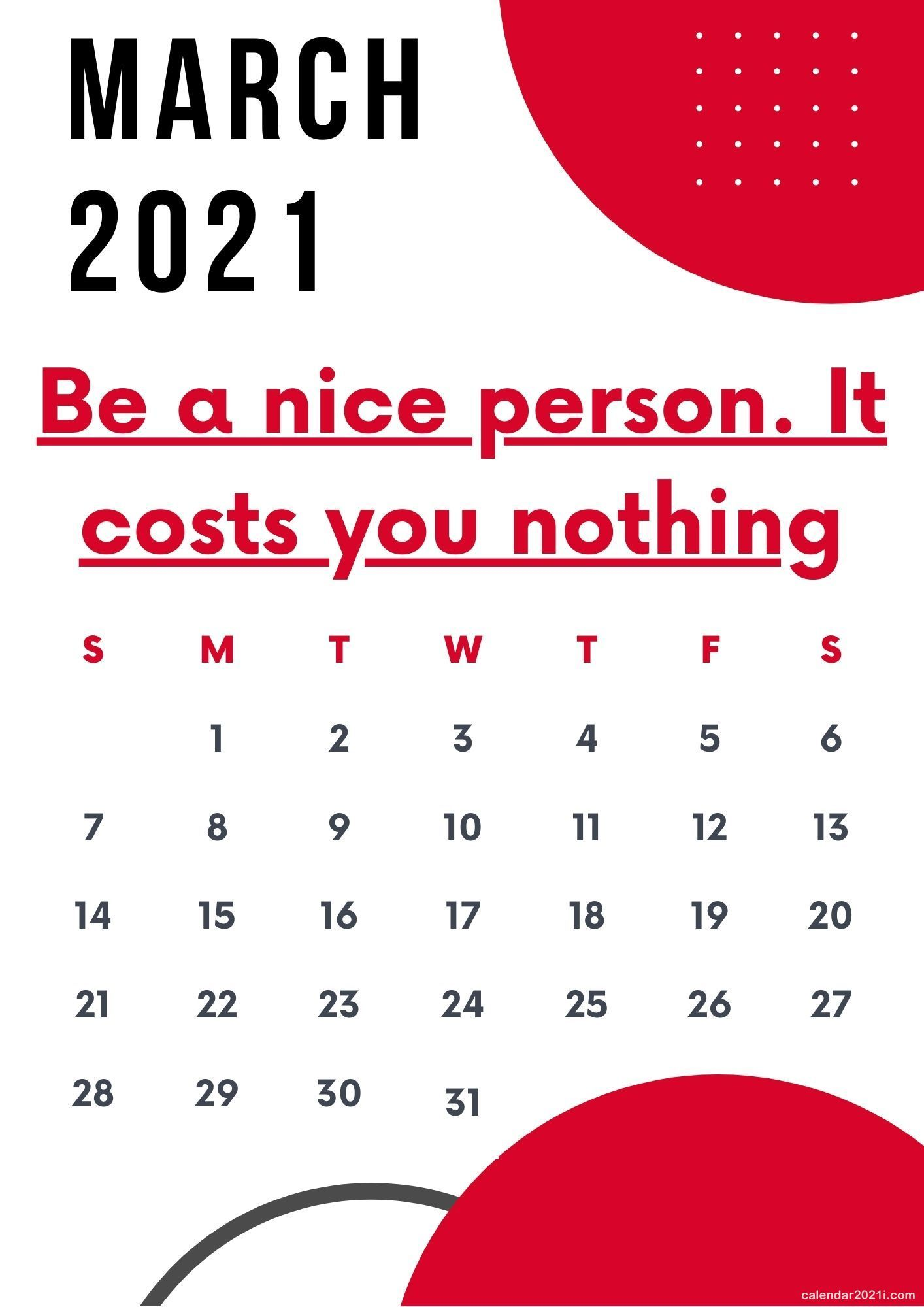 March 2021 Motivational Calendar With Quotes