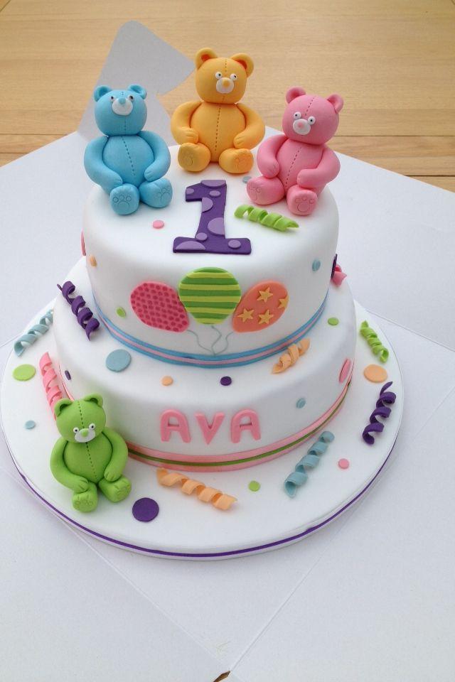 Teddy bear cake first birthday cake cakedecoratingideas