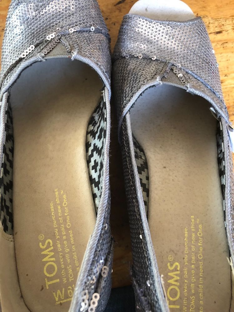 2191bec603cb Womens TOMS Silver Sequin Wedge Heel Peek Toe Shoes Size 6 1 2.  fashion   clothing  shoes  accessories  womensshoes  heels (ebay link)