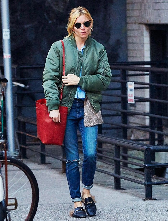 d1fd830b6 The Ultimate Celebrity Guide to Wearing a Bomber Jacket | Denim Days ...