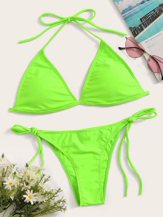 1614b5fd29 Shein Neon Lime Triangle Top With Tie Side Bikini Set | Products in ...