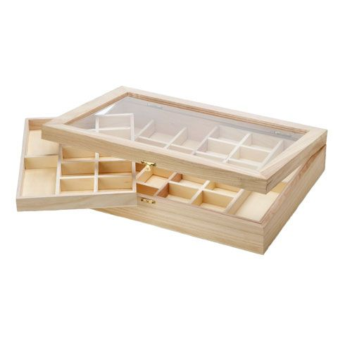 Unfinished Wood Storage Box Clear Top Jewelry Box or Specimen Box