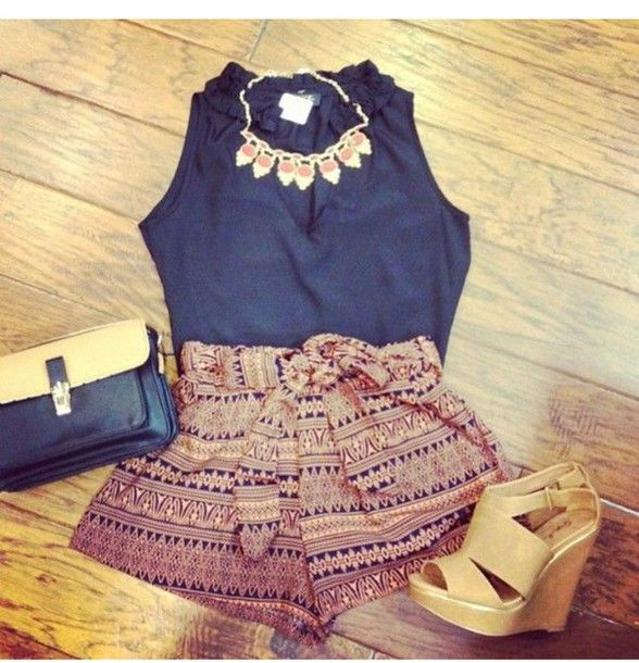 shorts tribal short with bow