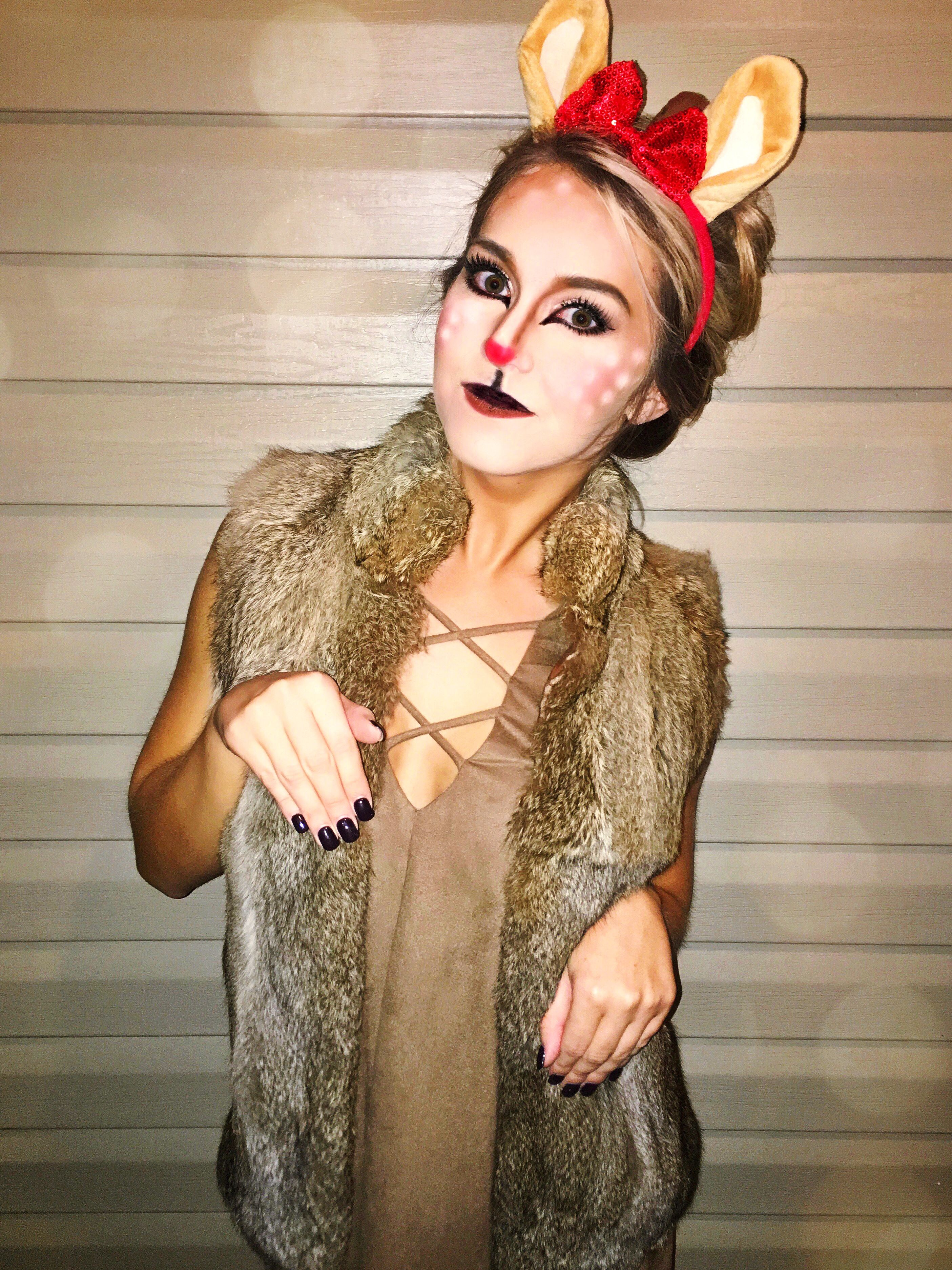 reindeer costume / christmas holiday costume / deer makeup