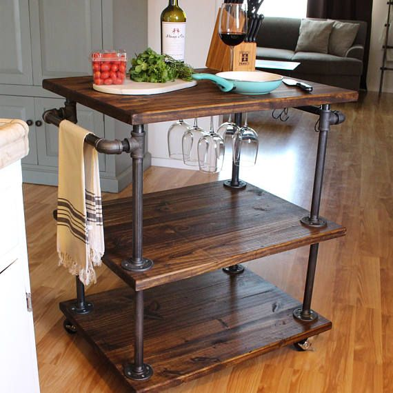 Rustic Wine Cart 3 Tiered Industrial Kitchen Cart Kitchen Pleasing Rustic Kitchen Cart 2018