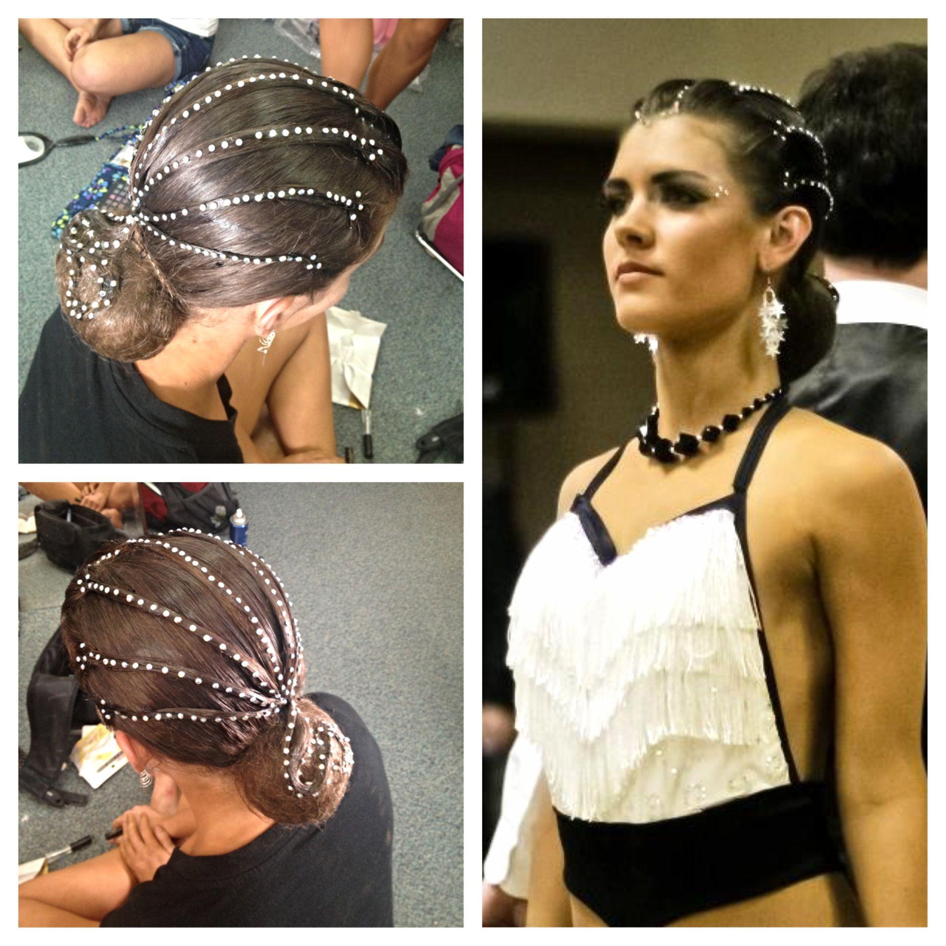 Latin hair , rhinestoned rows