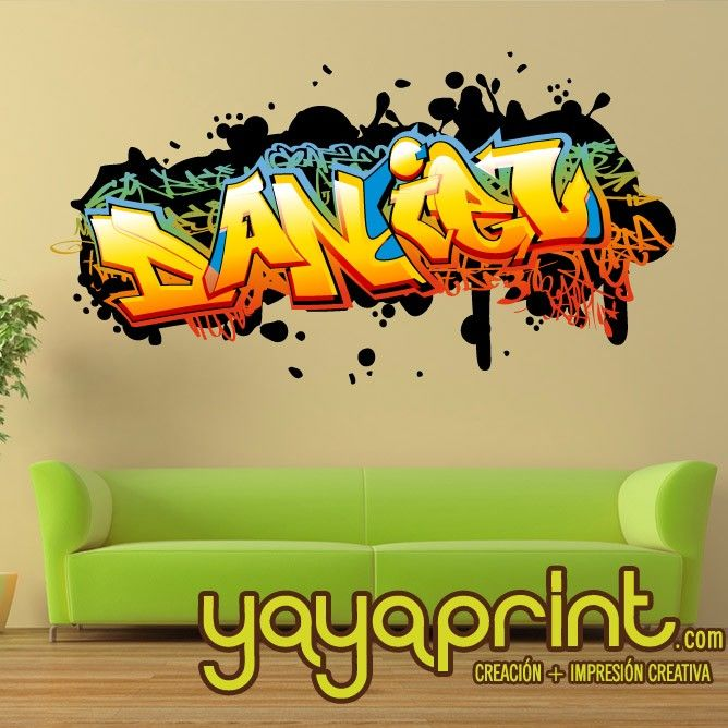 Vinilo graffiti personalizable yayaprint decoraci n - Vinilos con nombre ...