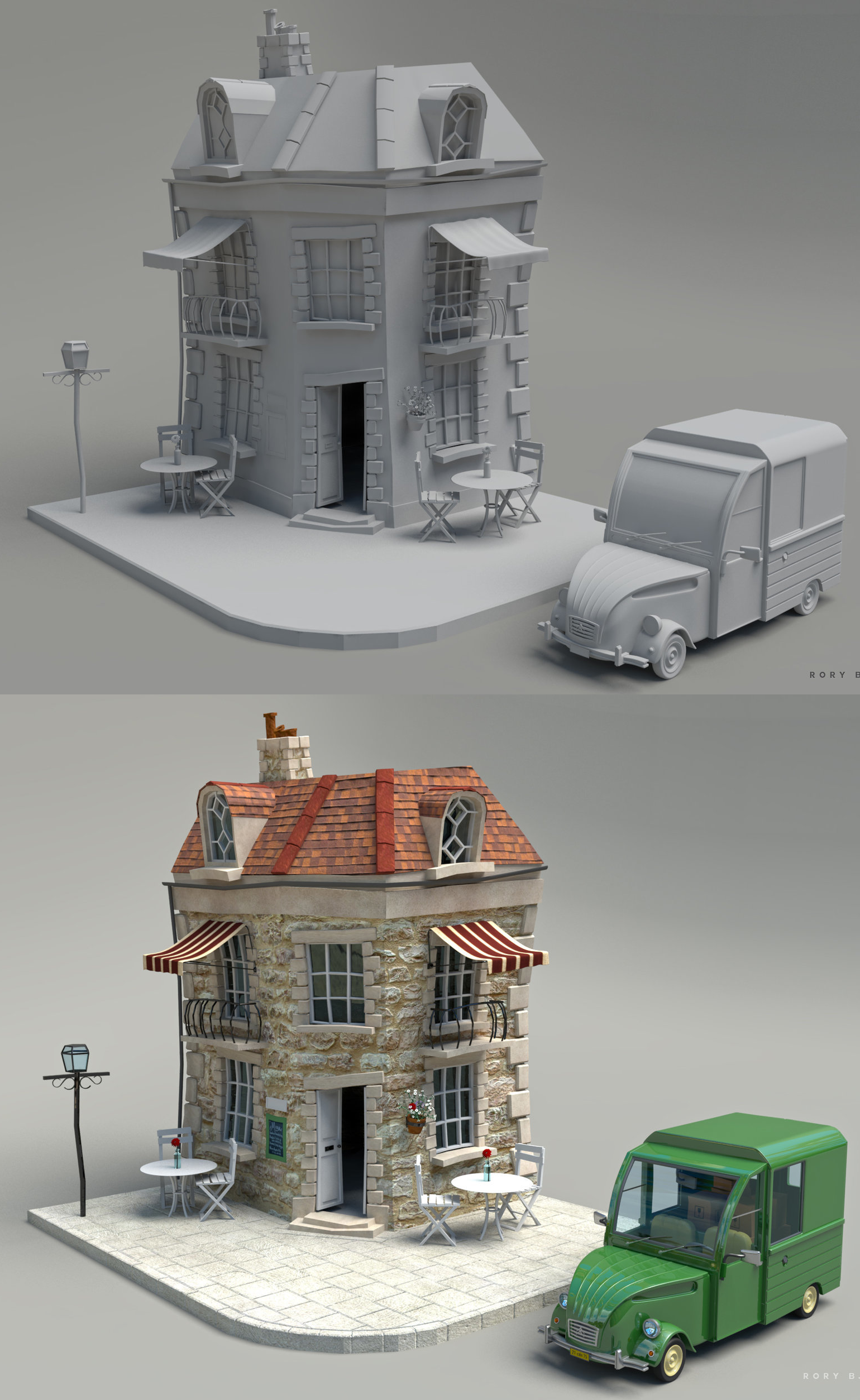 Little French Bistro Low poly environment