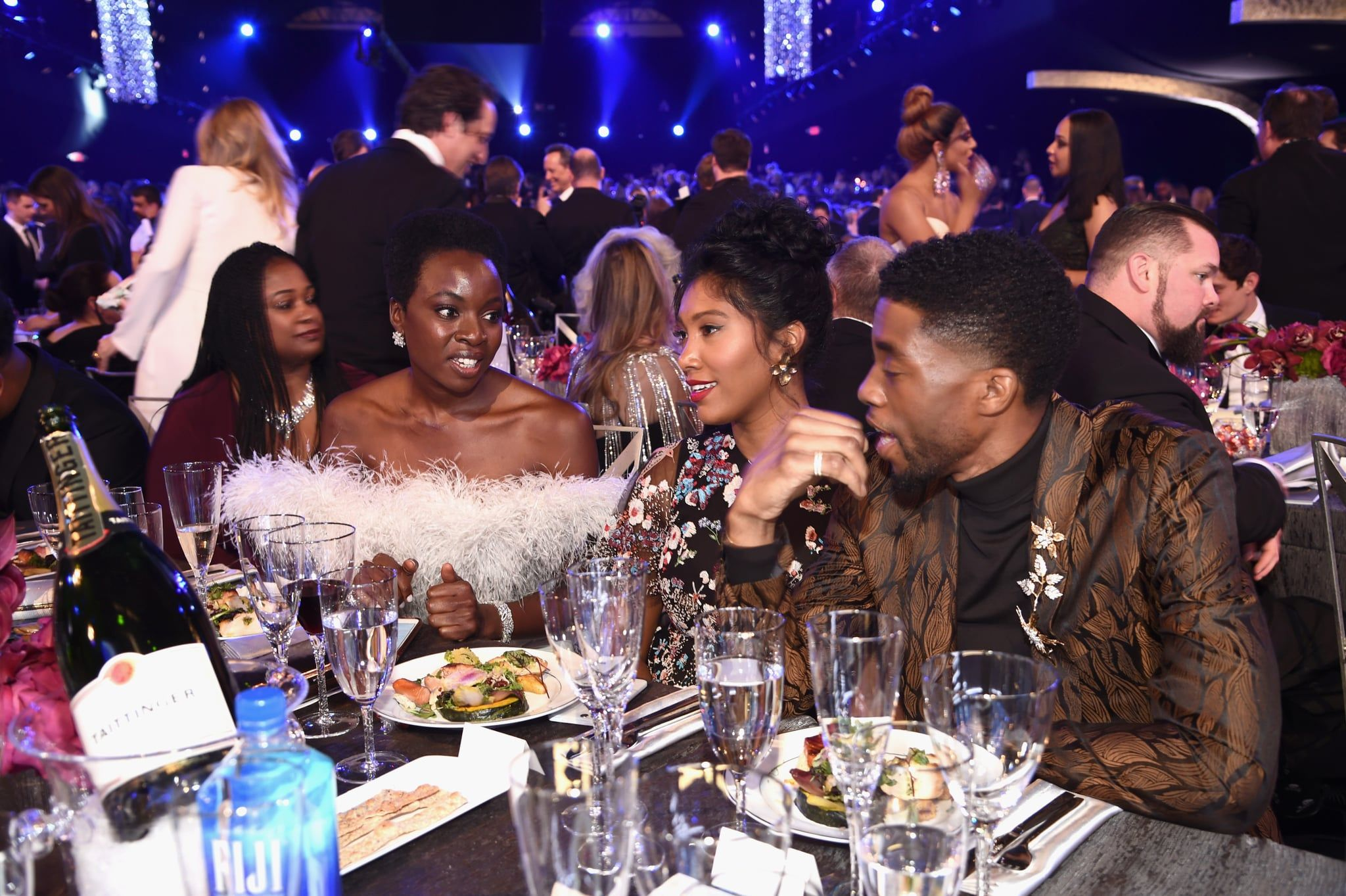 Chadwick Boseman And His Girlfriend Taylor Simone Ledward Are Fit To Rule The Sag Awards Chadwick Boseman Chadwick Celebrities