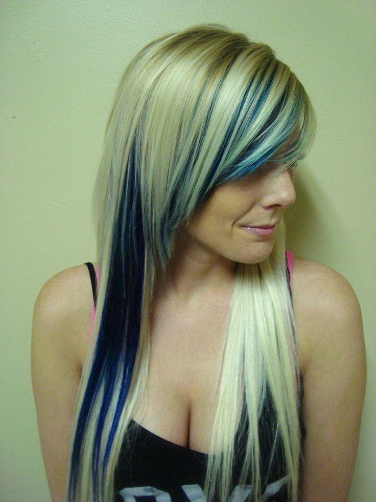 Peekaboo Single Side Blue In Blonde Hair Blonde Hair Blue