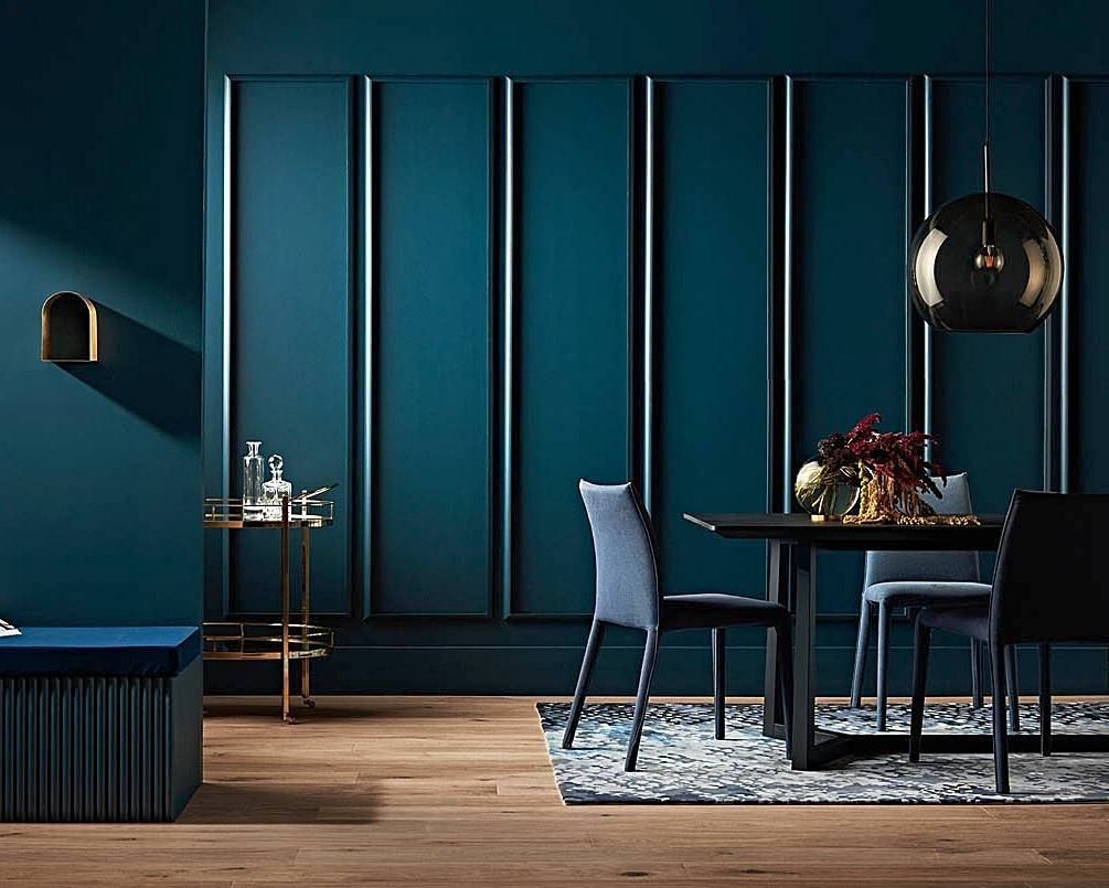Moody Blues We Love The Way Our Pisces Rug By Emmaelizabethdesigns Adds A Beautiful Dappled Texture To This Interior Design Room Renovation Dining Room Blue