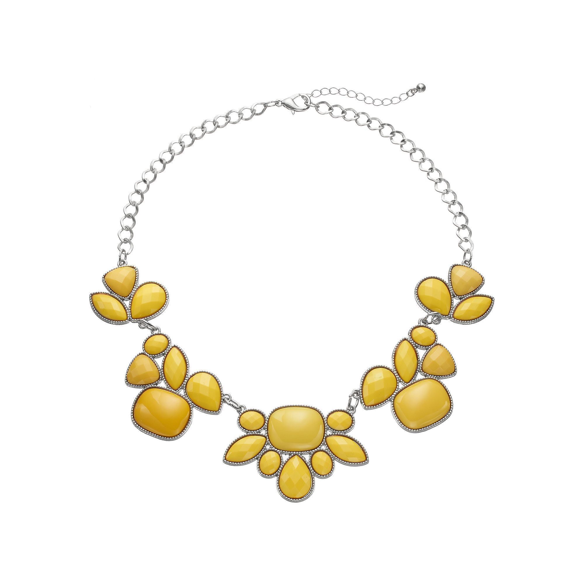 Yellow Geometric Stone Statement Necklace, Women's