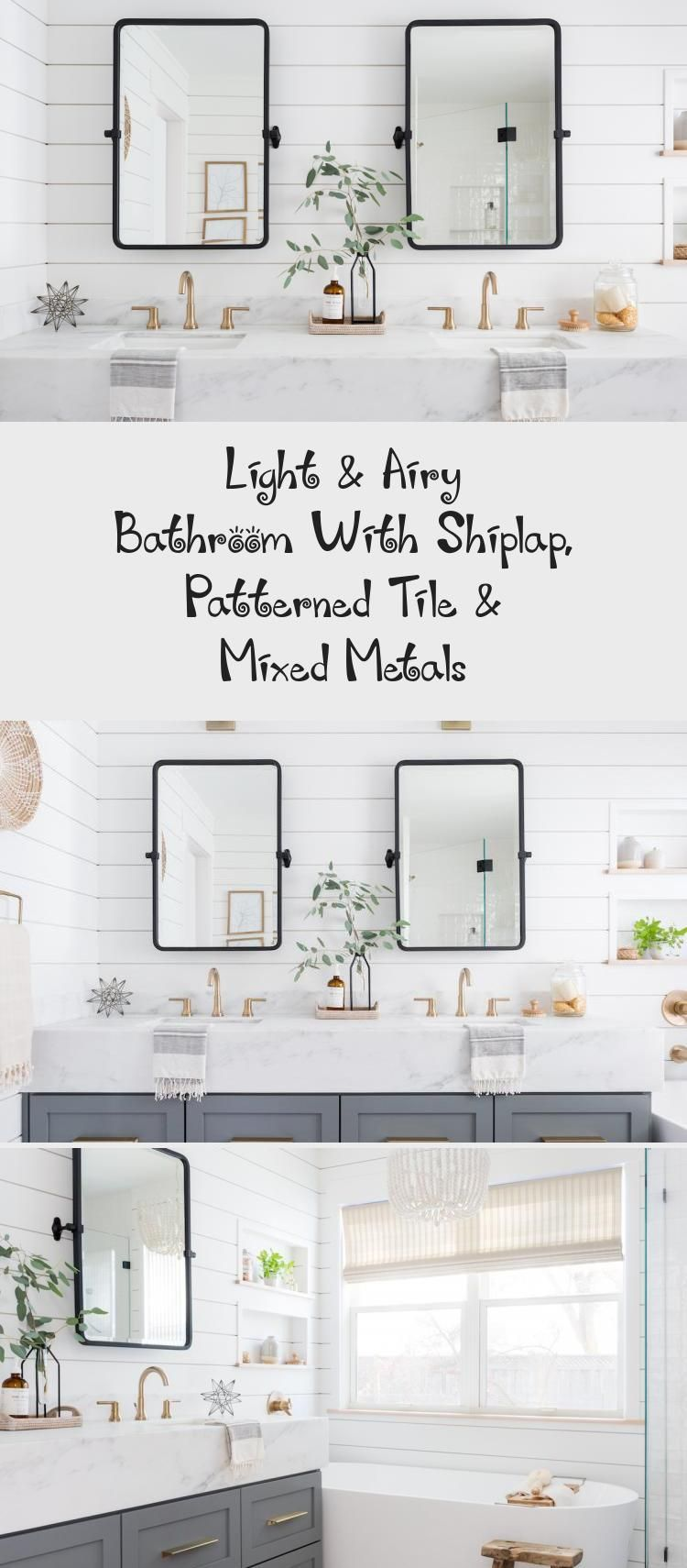 Photo of Light & Airy Bathroom With Shiplap, Patterned Tile & Mixed Metals – Bathroom