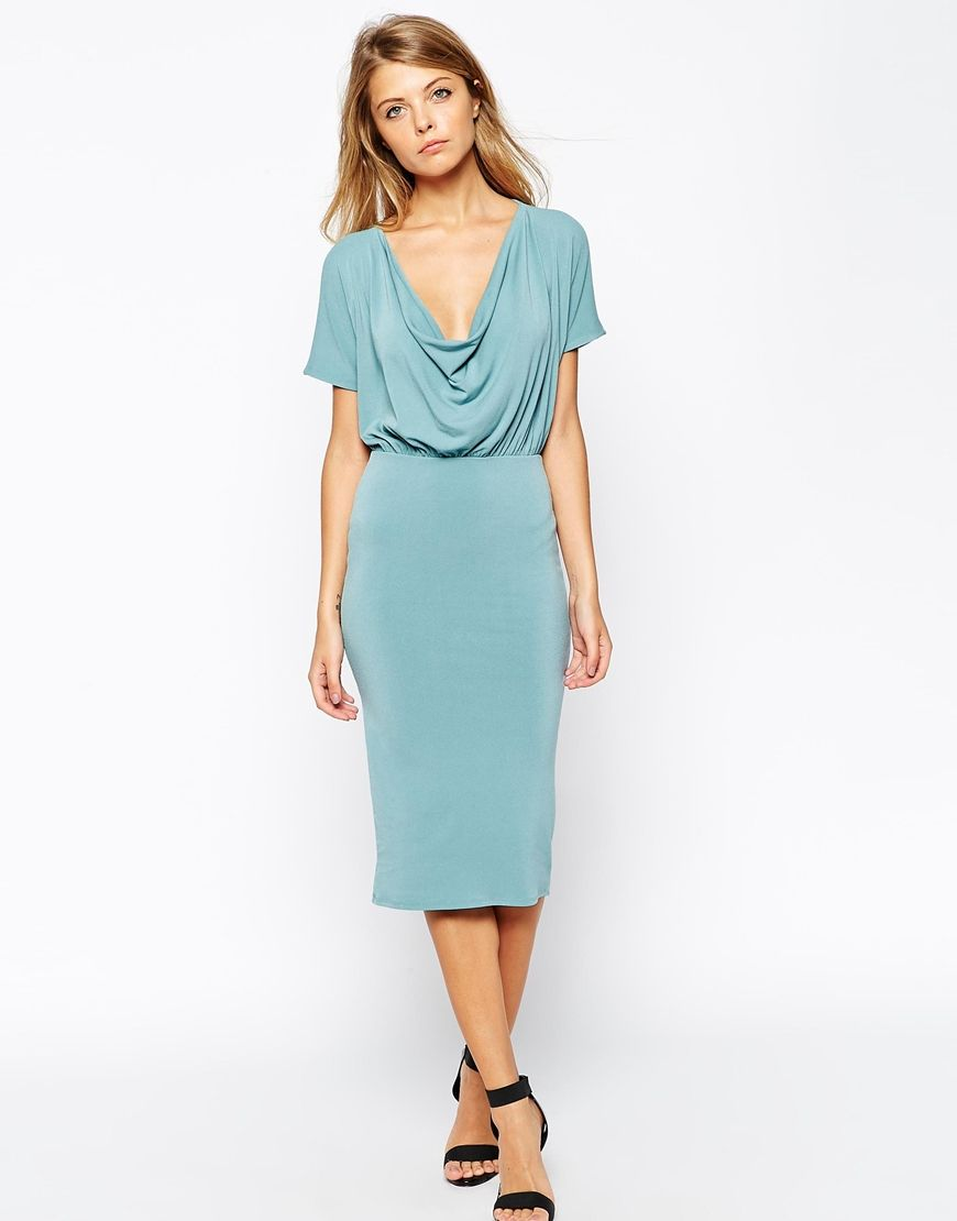 Body-Conscious Crepe Dress with Drape Cowl Neck | Cowl neck, Crepes ...