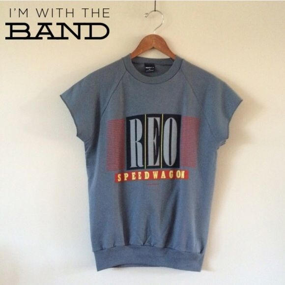 Vintage '84 REO Speedwagon Sweatshirt Deadstock sweatshirt style top from 1984! Slim fit (see measurements) with cap sleeves. Graphic front & back!   BRAND: Wrights MATERIAL: 50/50 YEAR/ERA: 80s LABEL SIZE: M FITS LIKE: XS/S  MEASUREMENTS: Bust 20 inches Length 25 inches  ☠ No trades please!  Check out my closet for more vintage tees! Vintage Tops Sweatshirts & Hoodies