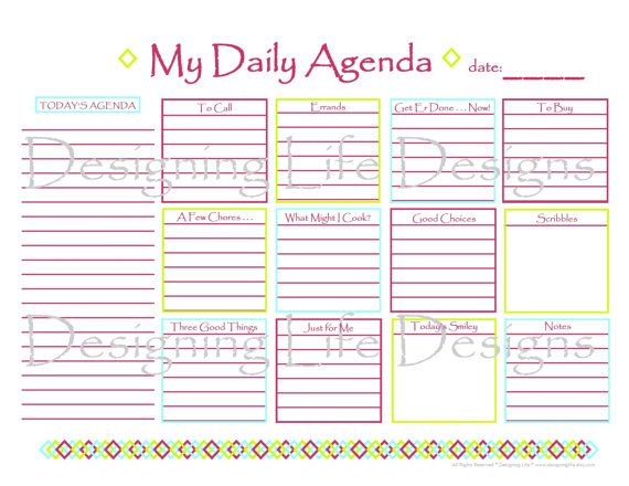 Daily Agenda Printable For Serious Planners And For The Planner With