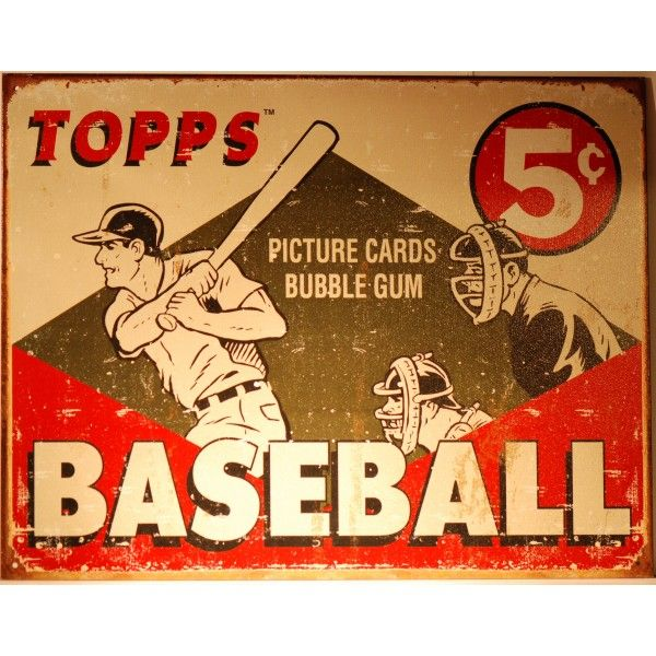 Original+Vintage+baseball+bubble+gumcards | Magnifique plaque BaseBall Topps Bubble gum vintage. Format 40.5 x 31 ...
