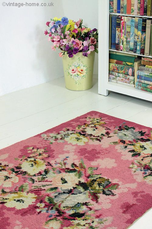 Vintage Home 1940s Rose And Floral Pink Rug Shabby