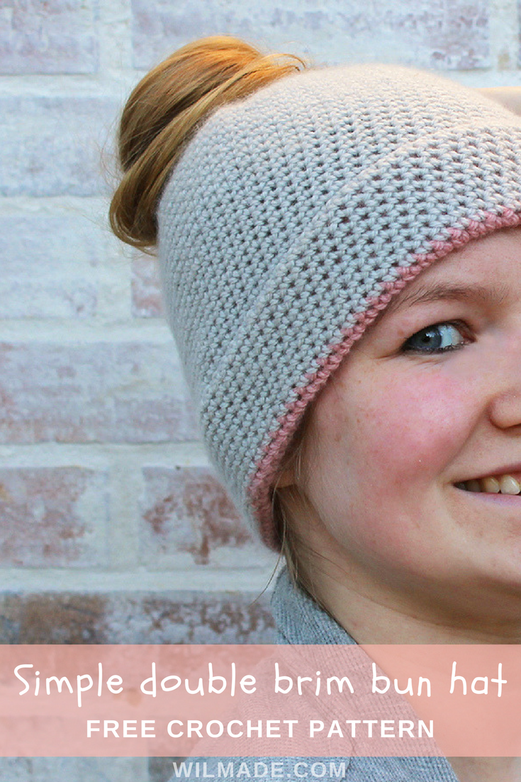 Simple double brim bun hat - free crochet pattern by | CrochetHolic ...