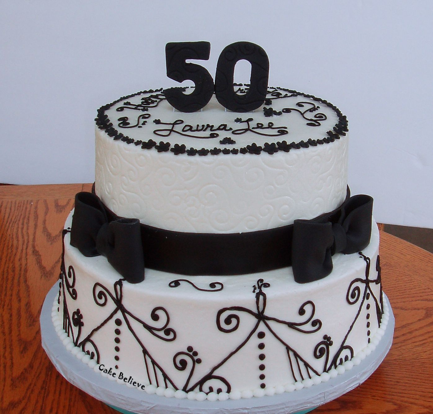 Surprising 50Th Birthday Cake In Black And White Coloring With Unique Motif Personalised Birthday Cards Veneteletsinfo