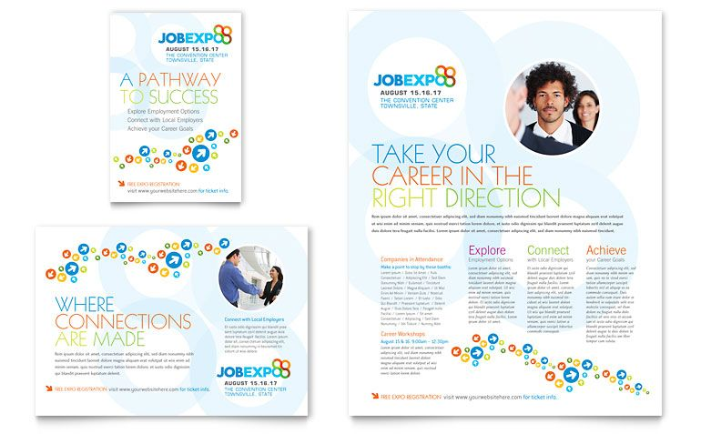 Job Expo  Career Fair  Flyer  Ad Template Design  Advertising