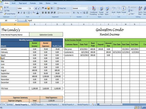 Landlords Spreadsheet Template, Rent and Expenses Spreadsheet, Short - Analysis Spreadsheet Template