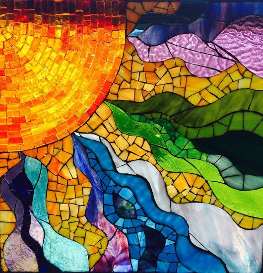 Stained Glass Window Mosaic Sun Fire Within Glass On
