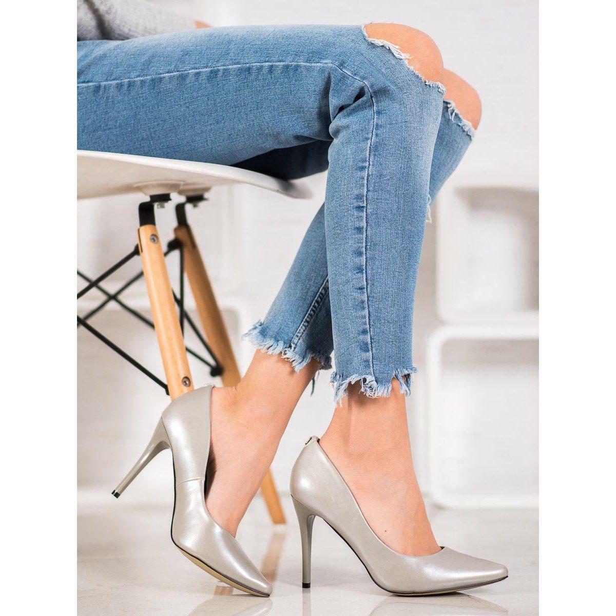 Goodin Eleganckie Szpilki Szare Pumps Fashion Stiletto