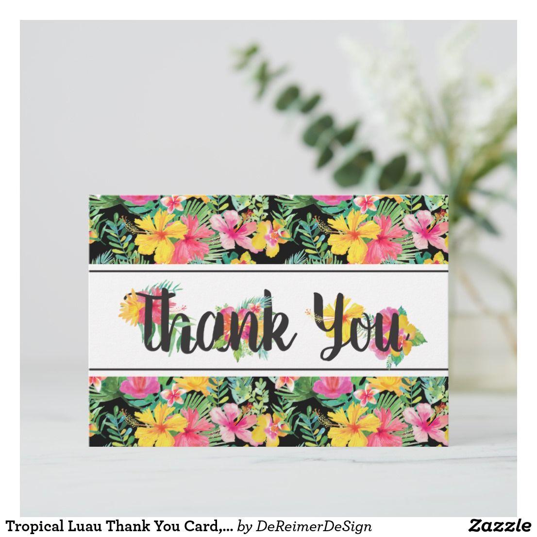 Tropical Luau Thank You Card Boho Rsvp Card In 2018 Bridal Shower