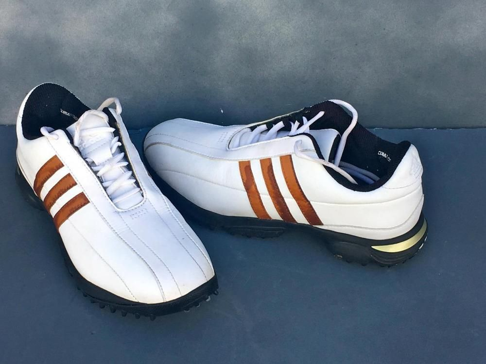 Adidas Adicomfort Golf Shoes Size 8 White Tan Stripes Model 675527 Good Cond Adidas Golf Shoes Mens Adidas Superstar Sneaker Golf Pride Grips