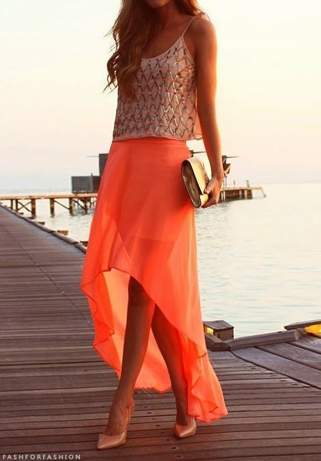 feaa5d9deb Wedding guest attire - maybe for a beach wedding? obsessed with everything  about this bright skirt and gold accents...I'm sensing a trend.