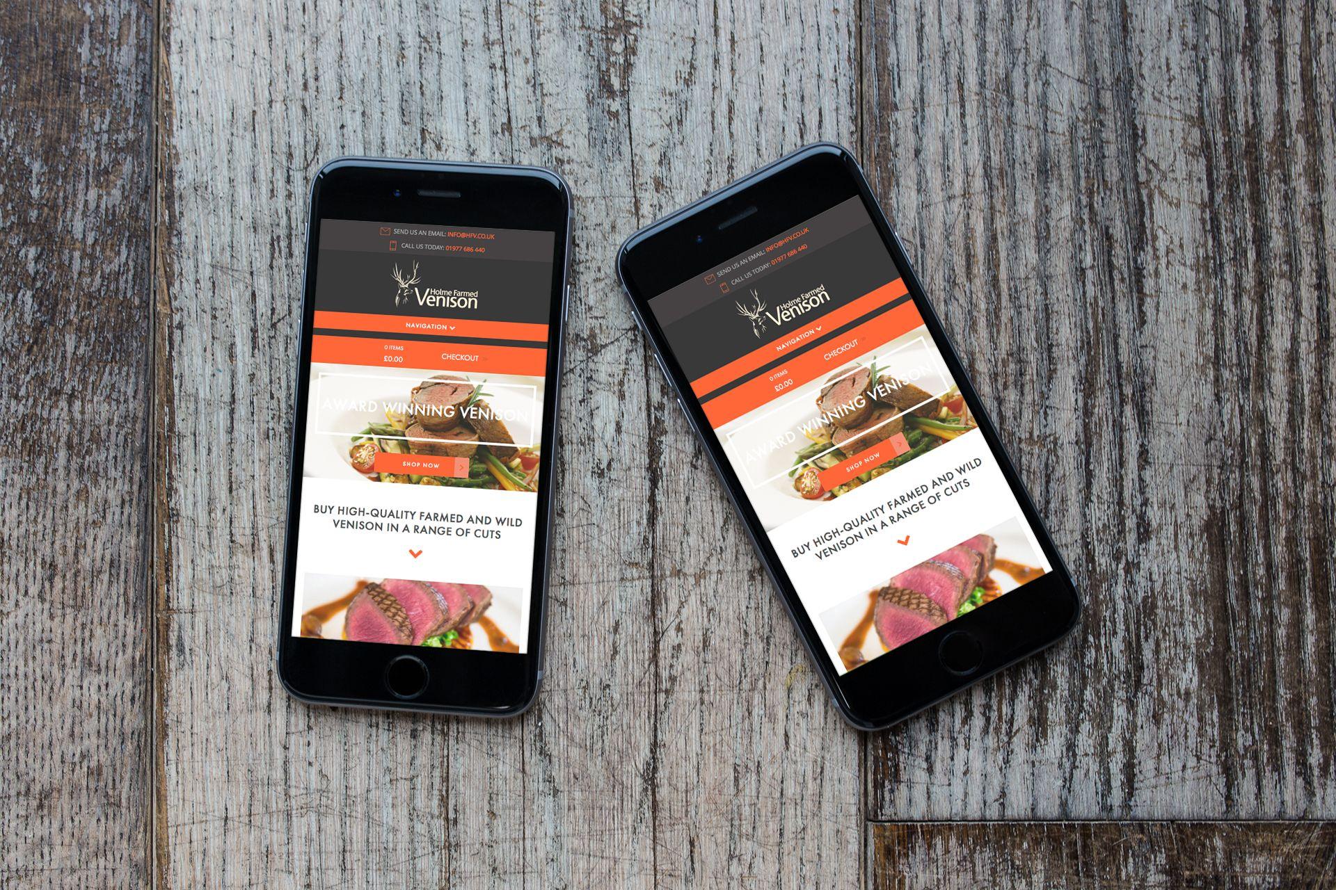 iPhone 6 hosts the responsive design for Holme Farmed Venison designed by Label Media, Leeds