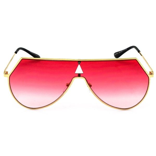 6efc8503f3f Elite Oversize Unisex Flat Top Aviator Retro Shield Mirrored Lens Rimless  Sunglasses - Red Ombre -
