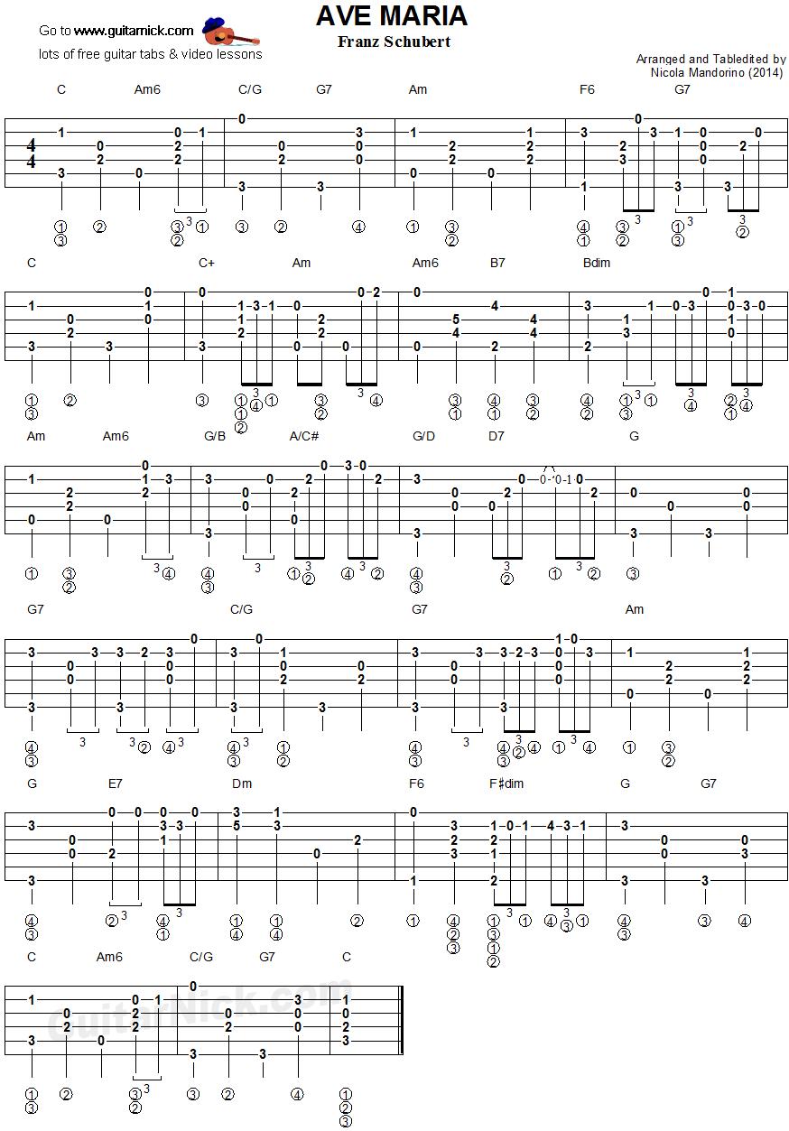Ave Maria Schubert Fingerstyle Guitar Tablature Music In 2018