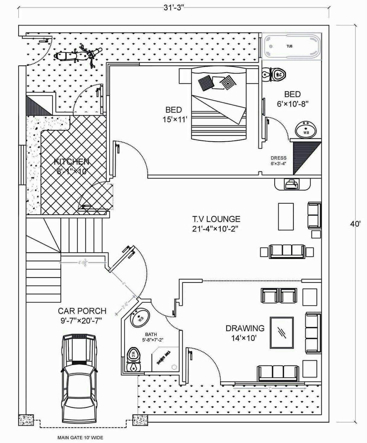 A Plan For Plot Size 31 33 40 Sqr Feet How To Plan House Map Model House Plan