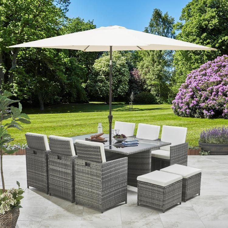 8 Seater Rattan Cube Outdoor Dining Set With Parasol Grey Weave In 2020 Garden Furniture Sets Outdoor Dining Set