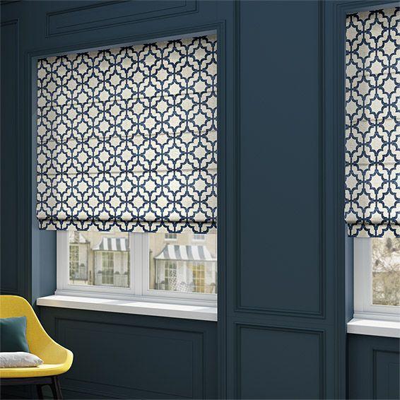Lattice Navy Blue Roman Blind Living Room