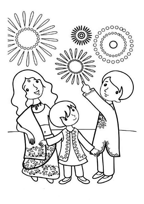 A Family Celebrate Diwali Coloring Page Netart Printable Coloring Cards Diwali Drawing Coloring Pages