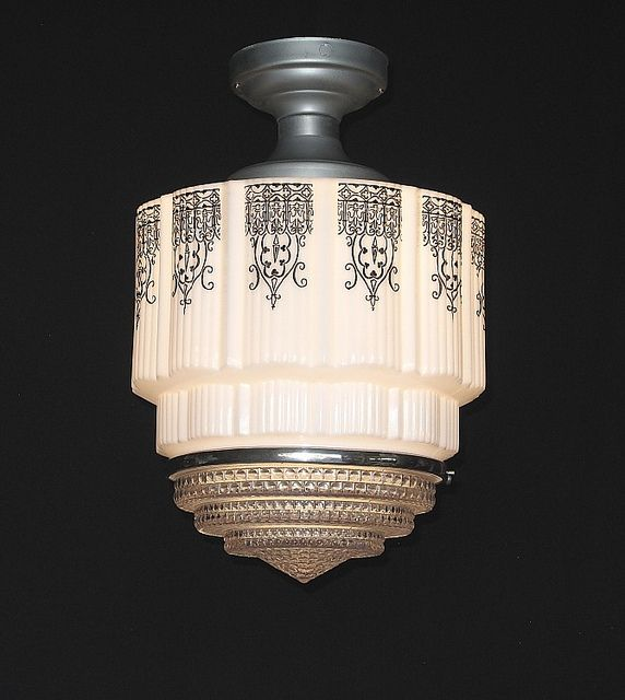 Vintage art deco lighting fixture milk glass upper shades with clear crystral bottom and black deco design stencil