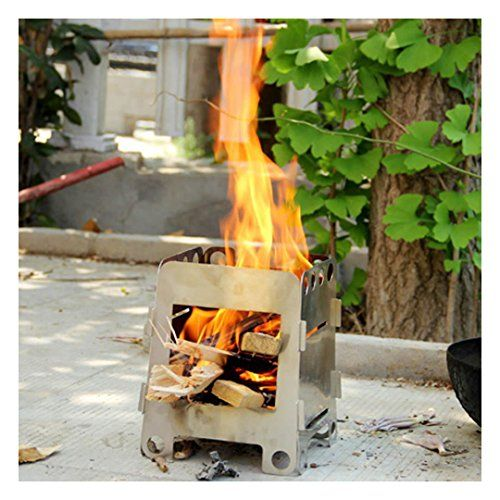 Foldable Wood Stove Outdoor Cooking Camping Folding Pocket Picnic Hinting BBQ