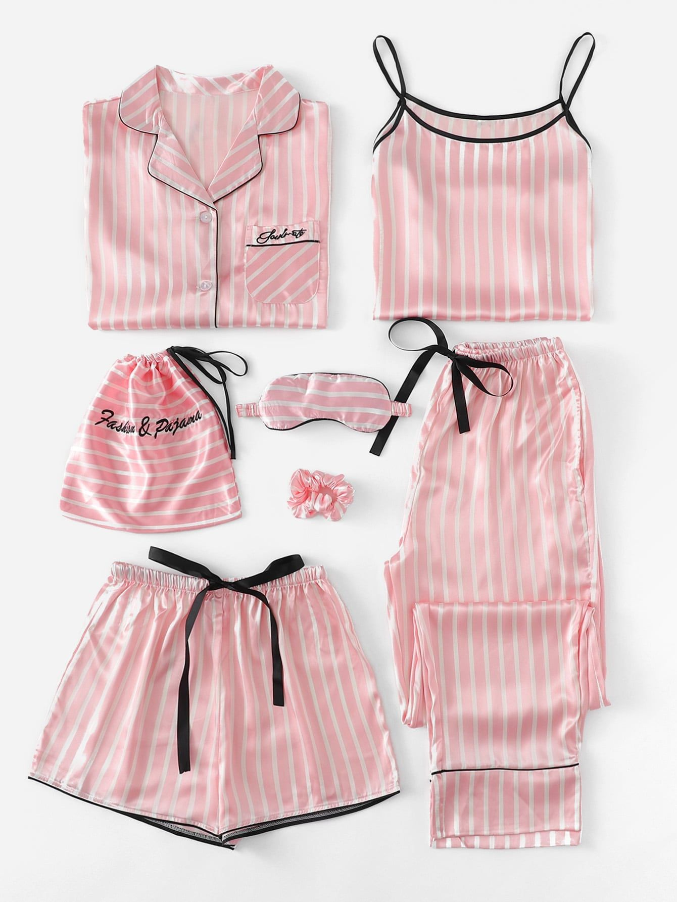 be3cdab9b 7Pcs Letter Embroidered Striped PJ Set With Shirt -SheIn(Sheinside)  Nightwear