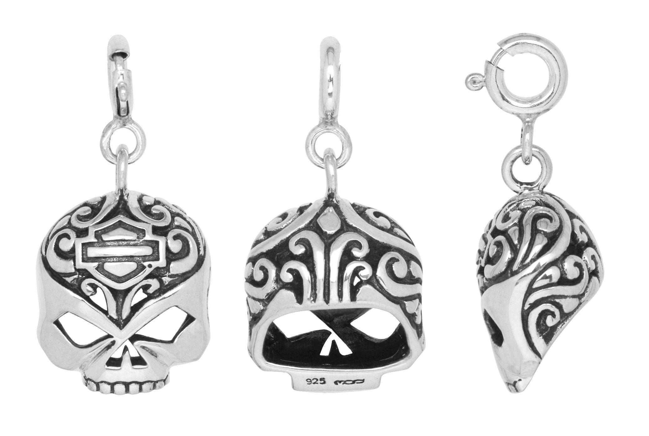 HarleyDavidson® Womens .925 Silver Filigree Skull Charm