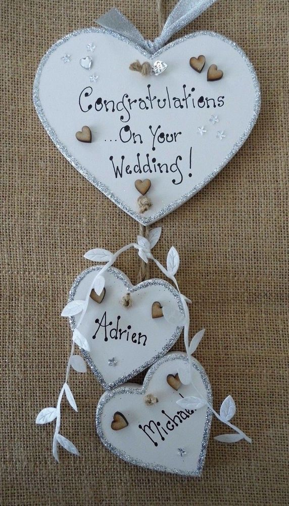 HANDMADE WEDDING DAY PLAQUE PERSONALISED WOODEN GIFT FREE TAG