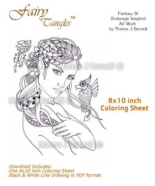 Rayne - Fairy Tangles Coloring Sheet Digi Stamp Coloring ...