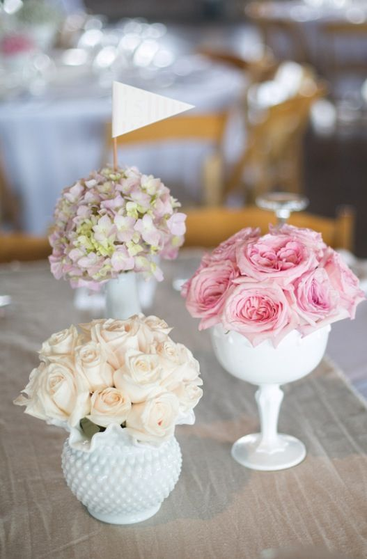 Not The Milk Glass Vase Centerpieces But I Do Like Bundles Of Roses