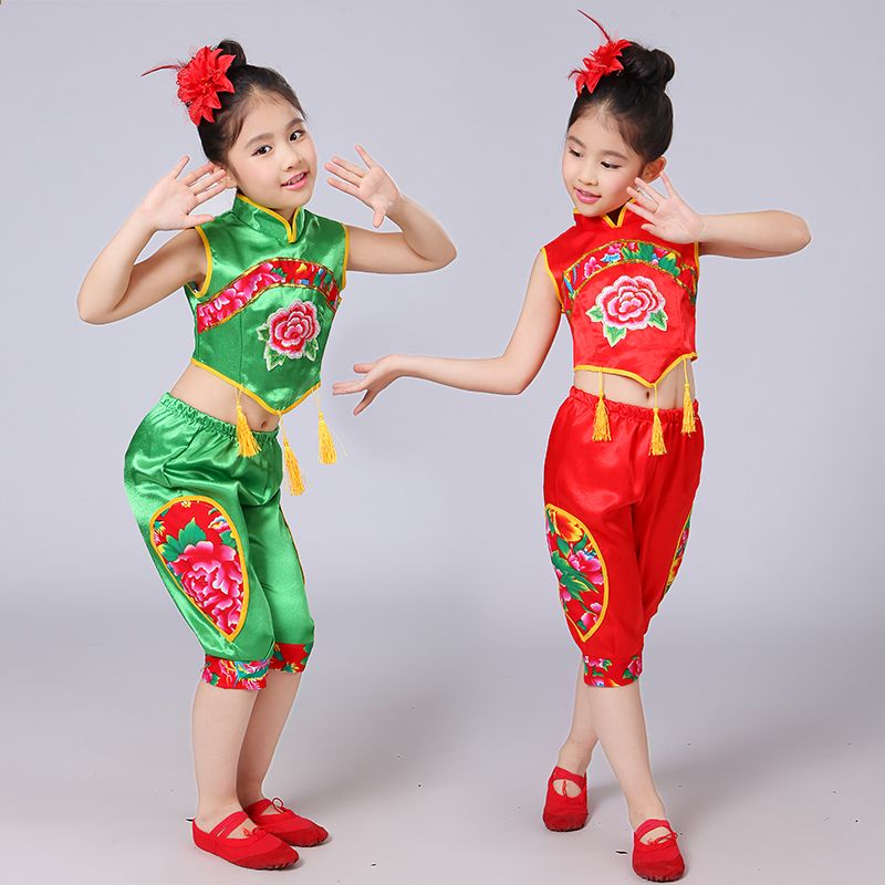 cab5395b2 Балалардың ұлттық би костюмдері Қыздар Қытайдың Янгж биші хан ...